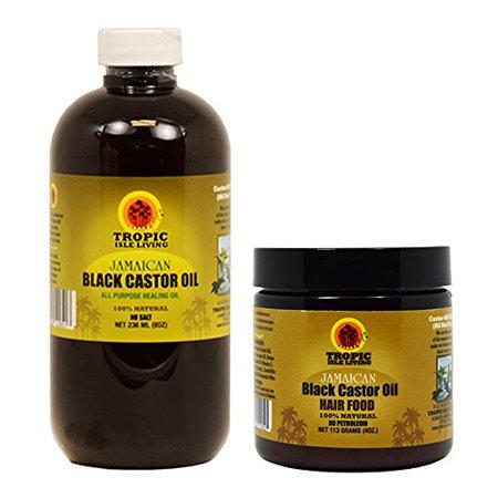 Tropic Isle Living Jamaican Black Castor Oil 8oz & Hair Food 4oz (Salon Pro Hair Food Black Castor Oil)
