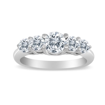 1/2ctw Diamond Five Stone Graduated Ring in 10K White Gold