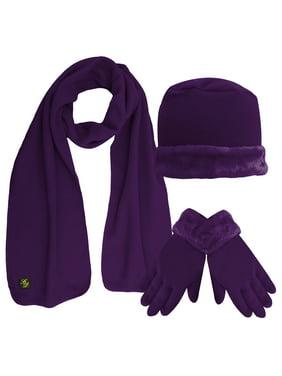 Fleece Hat Scarf & Glove Set With Plush Fur Trim