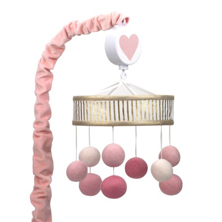 Lambs Ivy Layla Pink Gold Pom Pom Musical Baby Crib Mobile