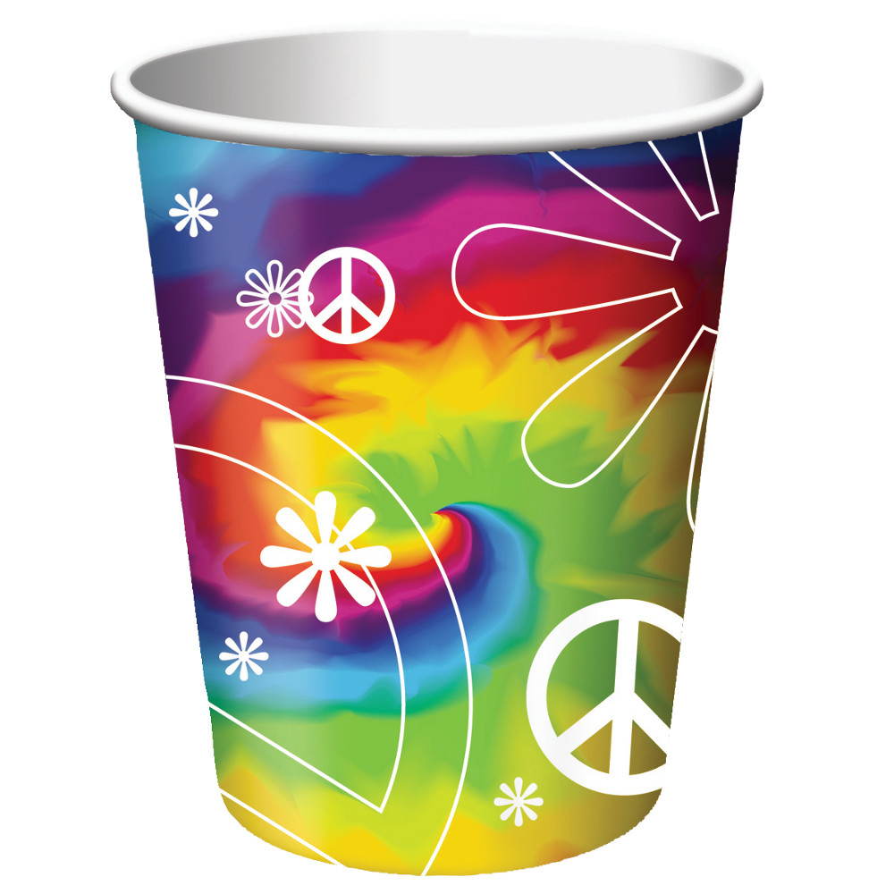 Club Pack of 96 Tie Dye Fun Disposable Paper Hot and Cold Drinking Party Cups 9 oz.