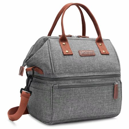 Insulated Lunch Bag,Dual Compartment Lunch Bag ,Large Cooler Box  Shoulder Bag Tote for Work, Office, School,Picnic,Travel ()