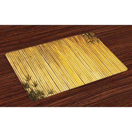 Bamboo Placemats Set of 4 Bamboo Stems and Leaves Oriental Nature Wood Image Natural Zen Asian Wildlife Theme, Washable Fabric Place Mats for Dining Room Kitchen Table Decor,Yellow, by Ambesonne