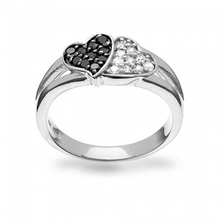 Black And White Two Tone Pave CZ 2 Double Heart Shape Promise Ring For Teen For Girlfriend 925 Sterling