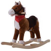 Qaba Kids Plush Toy Rocking Horse Ride on with Realistic Sounds with Red Scarf
