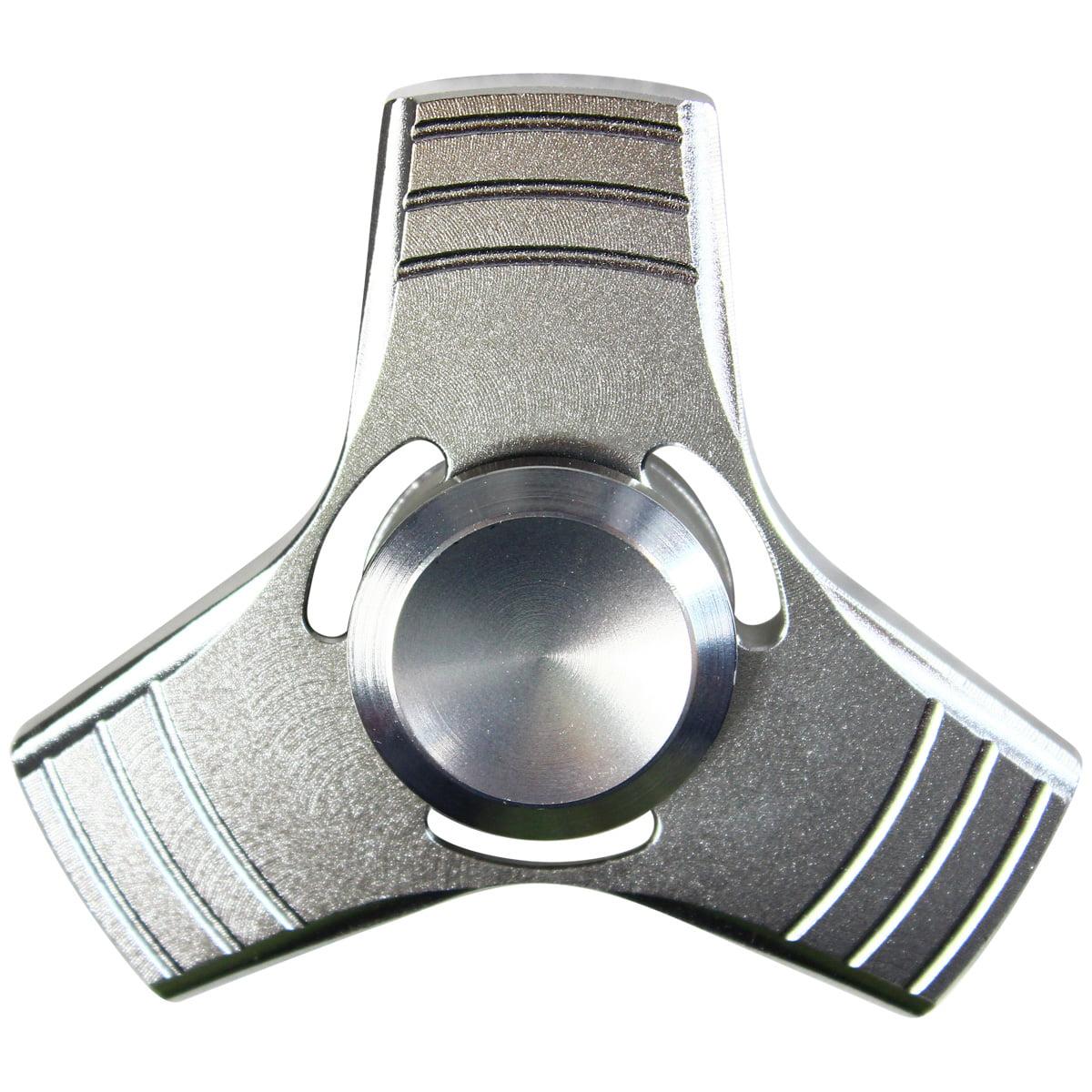Tri Spinner Fidget Aluminum Finger Stress Hand Desk EDC ADHD Autism silver