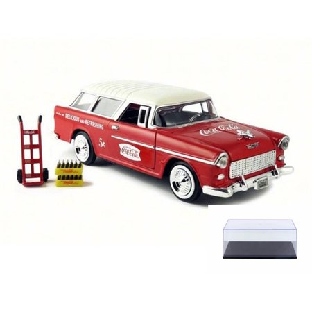 Diecast Car & Display Case Package - 1955 Chevy Bel Air Nomad Wagon, Red w/ White Top - Motor City Classics 424110 - 1/24 Scale Diecast Model Toy Car w/Display Case