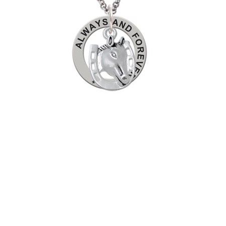Horse Head with Horseshoe - 2 Sided Always and Forever Affirmation Ring Necklace