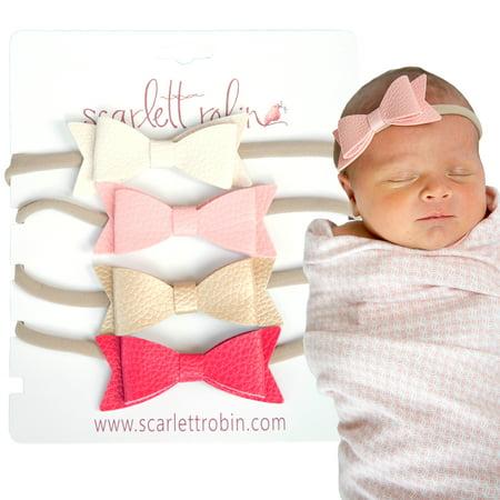 Nike Nylon Headband (4 Baby Girl Hair Bows on Nylon Headbands | Leather