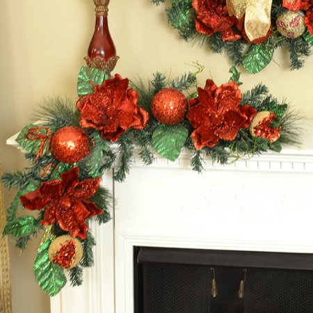 floral home decor glistening magnolia christmas swag - Magnolia Christmas Decor