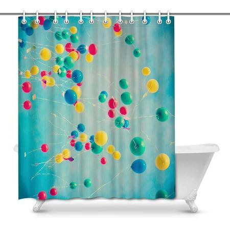 POP Bunch of Colorful Balloons in Flight Decor Waterproof Bathroom Shower Curtain 66x72 inch - image 1 de 1