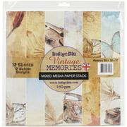 "IndigoBlu Paper Stack 190gsm Cardstock 12""X12"" 12/Pkg-Vintage Memories"