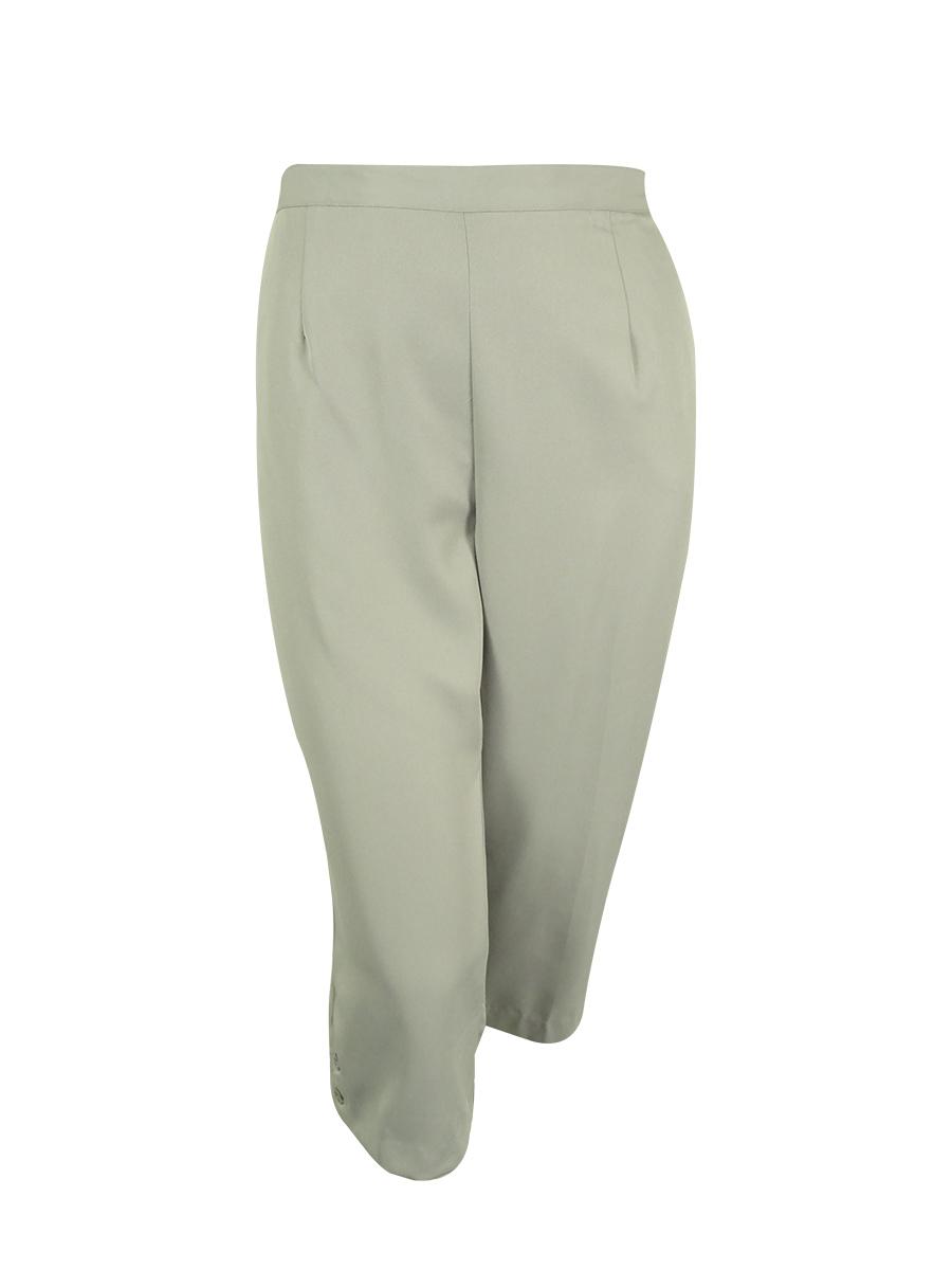 Alfred Dunner Women's Elastic Waist Capri Pants (22W, Silver)