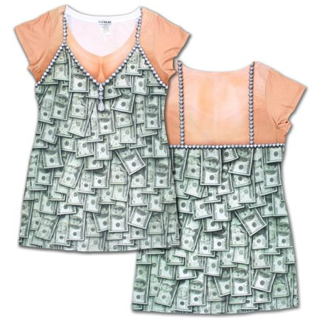 Creative Halloween Shirts (Womens: Sugar Mama Money Dress Costume Tee (Front/Back) Womens)