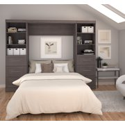 """Pur by Bestar 109"""" Full Wall Bed Kit with Two 25"""" Storage Units and 3-Drawer set each in Chocolate"""