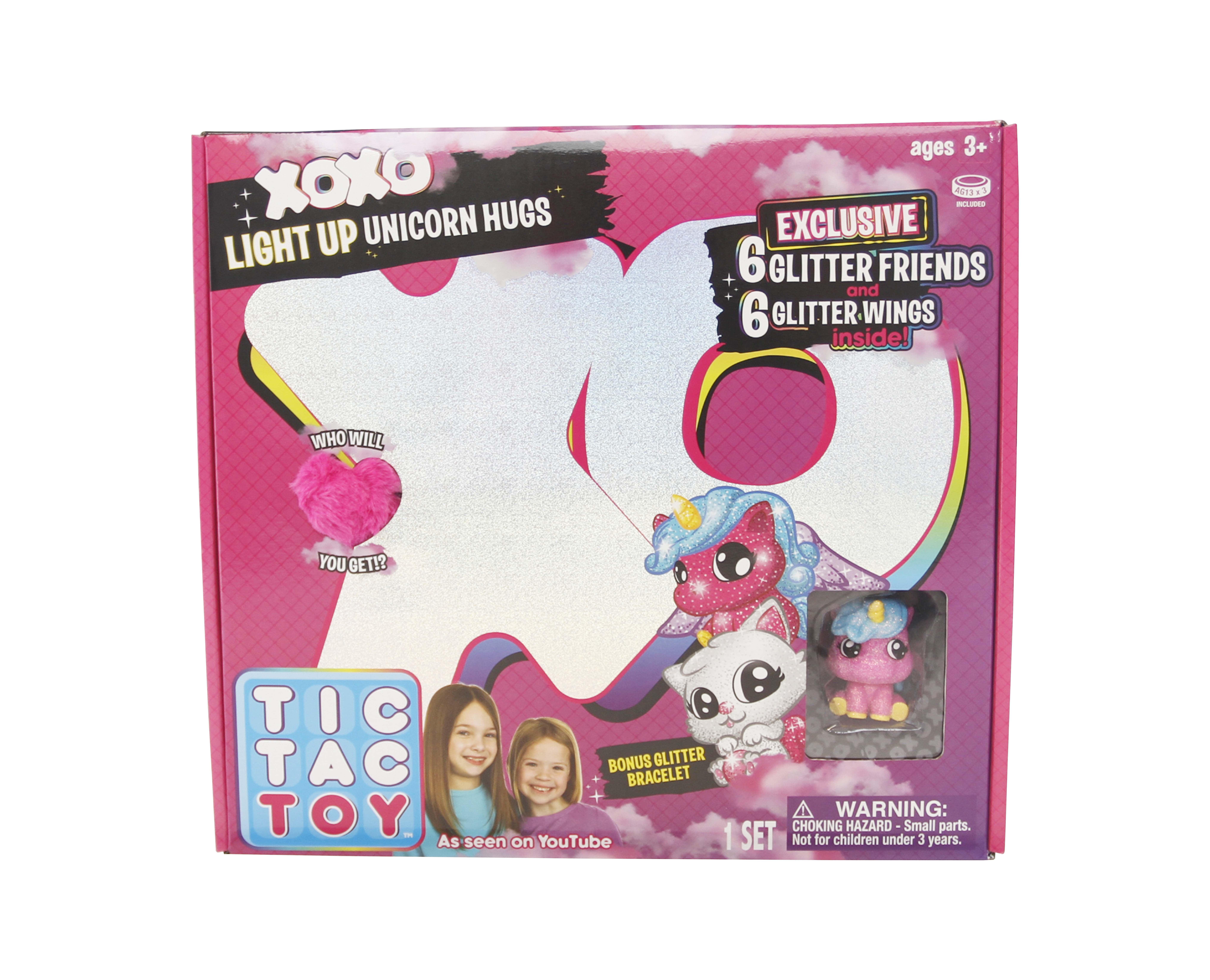 Tic Tac Toy XOXO Light Up Pink Unicorn Hugs & Glitter Friends