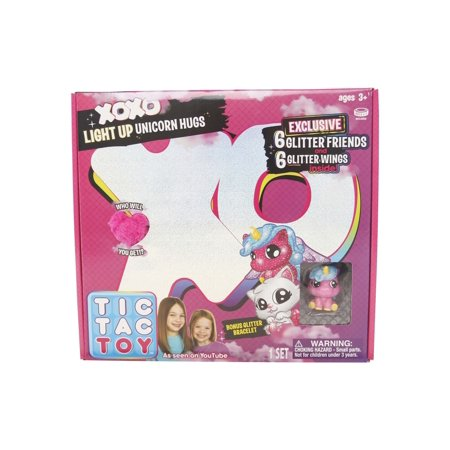 Tic Tac Toy XOXO Light Up Pink Unicorn Hugs & Glitter Friends