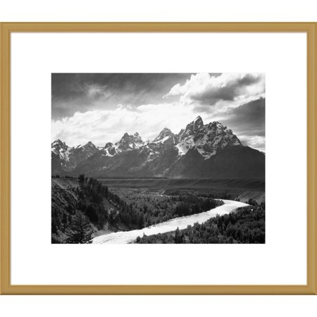 Global Gallery Ansel Adams 'View from river valley towards snow covered mountains, river in foreground, Grand Teton National Park, Wyoming , 1941' Framed Wall