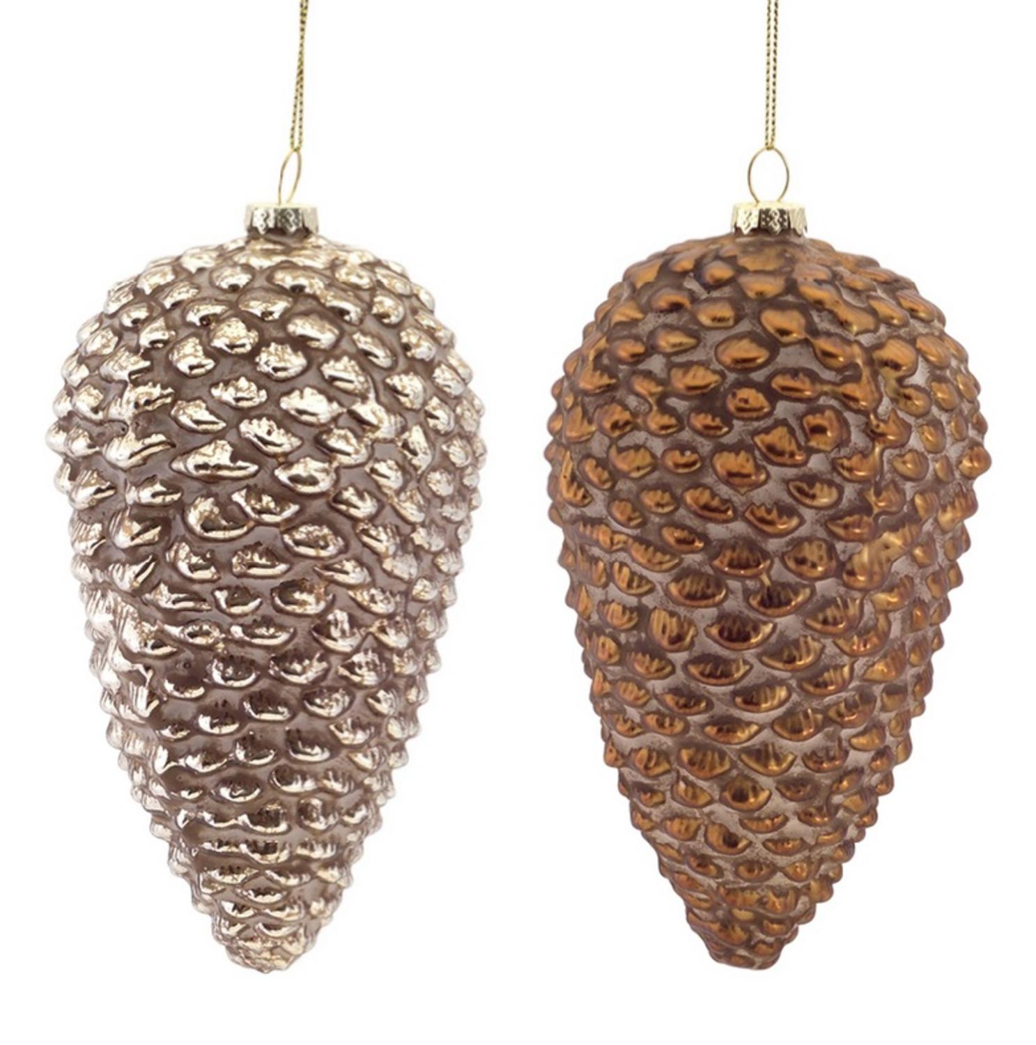 Pack of 6 Champagne and Bronze Glass Pine Cone Christmas Ornaments 6""