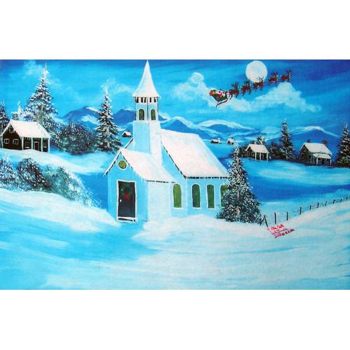 Custom Printed Rugs Holiday Snowy Chapel Doormat