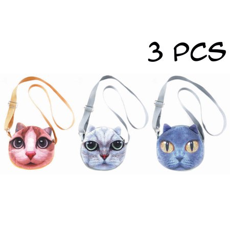 3 PCS Cute Animal Face Crossbody Shoulder Bags Set for Girls, Teens, Tween and Women - Photorealistic Vivid 3D Printed Faces - Zipper Closure - Adjustable - Great gifts and Party Favors-Cats-4