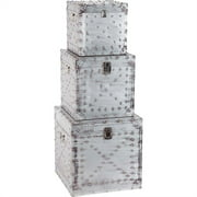 Merana Port Kels Set of Three Wooden Silver Metal-Cladded Boxes