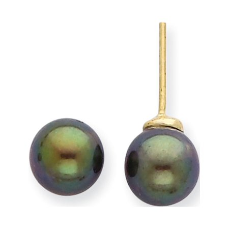 14k Yellow Gold 7-8mm Round Black Saltwater Akoya Cultured Pearl Stud (7.5x7.5mm) Earrings - image 3 of 3