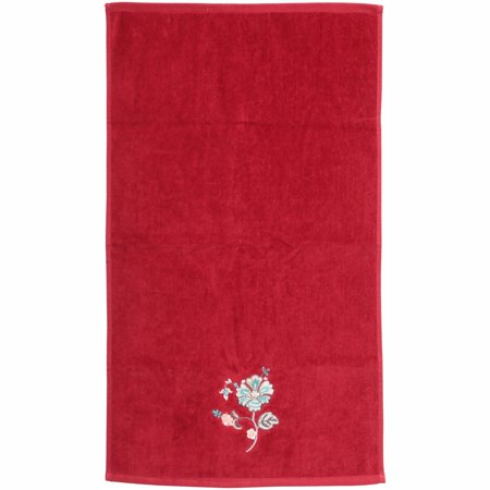 Better Homes And Gardens Red Jacobean Embroidery Hand Towel