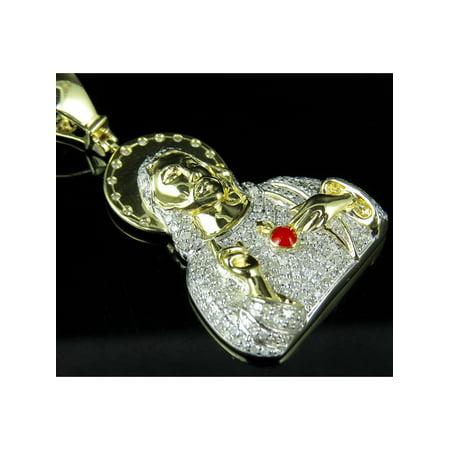 10K Yellow Gold Halo Jesus Genuine Diamond Pendant Charm 1.15Ct - Genuine 10k Charm