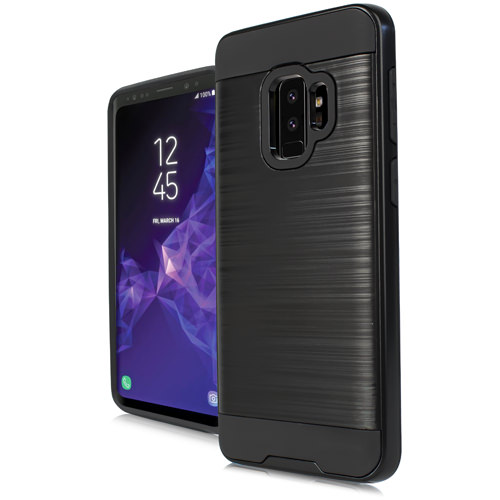 MUNDAZE Black Brushed Metal Double Layered Case For Samsung Galaxy S9 Phone