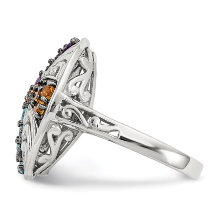 925 Sterling Silver Black Multi Gemstone Band Ring Size 6.00 Stone Fine Jewelry Gifts For Women For Her - image 1 of 10