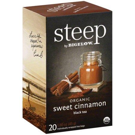 Steep par Bigelow Sacs Noir cannelle douce Bio Thé, 20 count, 1,6 oz, (Pack de 6)