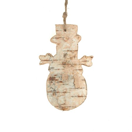 Birch Snowman (Carved Birch Snowman Hanging Christmas Tree Ornament, Natural, 4-Inch )