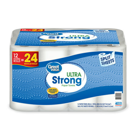Great Value Paper Towels, Split Sheets, 12 Double Rolls