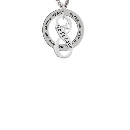 God's Love Infinity Sign Bless Me with a Healing Hand Affirmation Ring Necklace