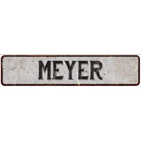MEYER Street Sign Rustic Chic Sign Home man cave Decor Gift White (Myer Market Street)