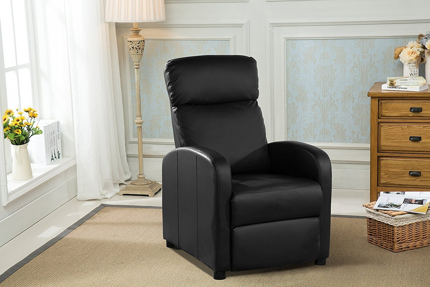 Reclining accent chair for living room faux leather cushioned arm chair black walmart com