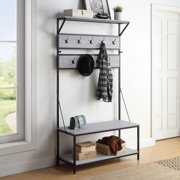 BELLEZE Industrial Entryway 4-In-1 Hall Tree Coat Rack Shoe Bench, Wood Accent Furniture with Metal Frame, Stone Grey