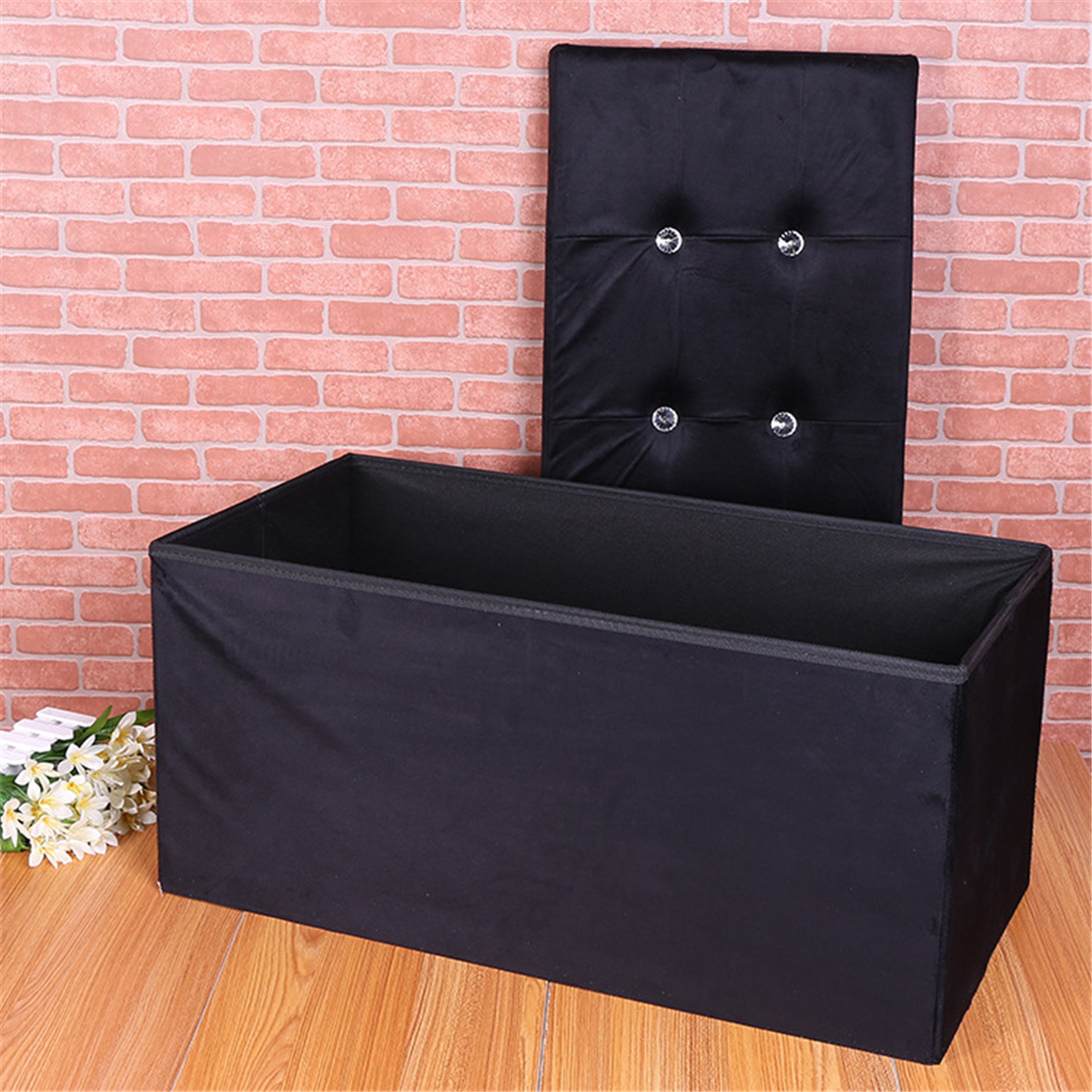 Large Flannel Ottoman Folding Storage Pouffe Toy Box Foot Stools Bench Seat  76x38x38cm (Black)
