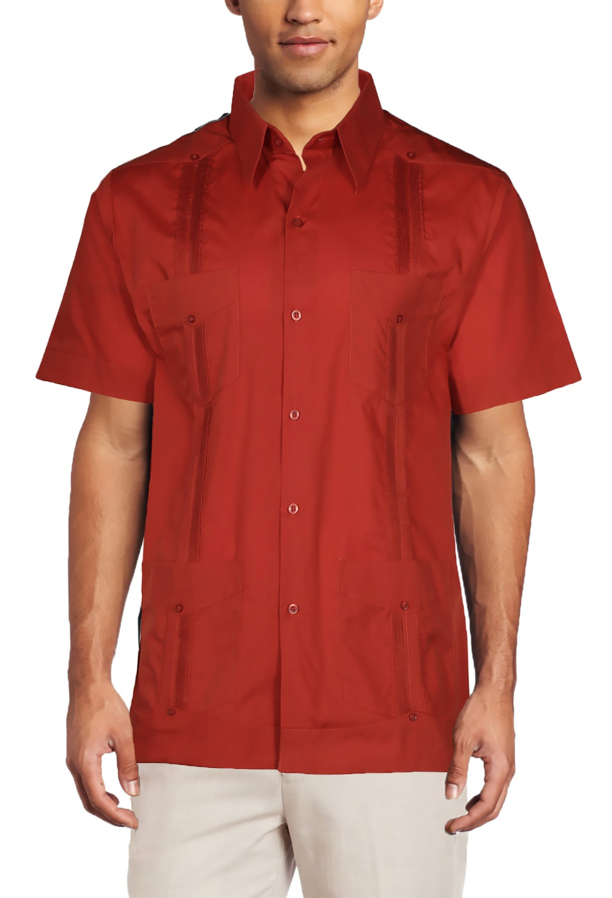 c86240ea5f2fa Mojito Collection - Mojito Collection Men s Short Sleeve Guayabera Shirt -  Walmart.com