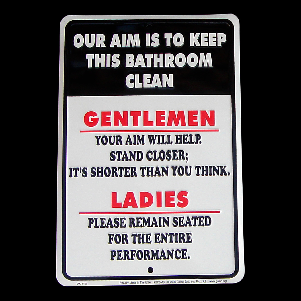 Our Aim Is To Keep Bathroom Clean Tin Sign Funny Home Bar Pub Tavern