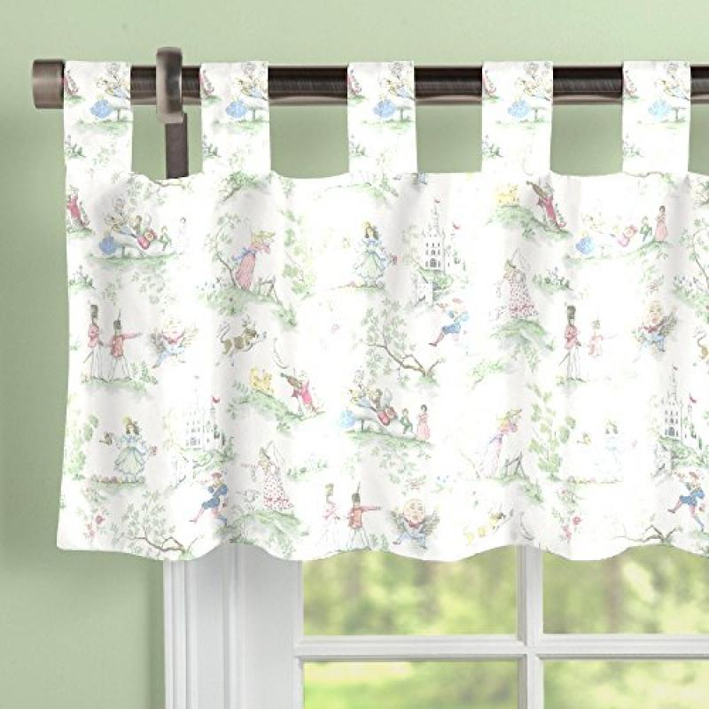 Carousel Nursery Rhyme Toile Window Valance Tab-Top