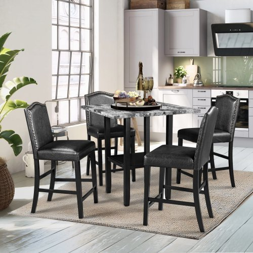 Topmax Dining Table Set For 4 Square Dining Room Tables And Chairs Faux Marble Dining Room Set For Small Place Black Chair And Gray Table Walmart Com Walmart Com