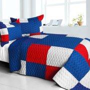 Gorgeous Blue 3PC Cotton Vermicelli-Quilted Patchwork Plaid Quilt Set-Full/Queen Size