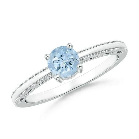 Platinum Vintage Ring - March Birthstone Ring - Vintage Style Aquamarine Solitaire Ring with Milgrain in Platinum (5mm Aquamarine) - SR1191AQ-PT-AA-5-6