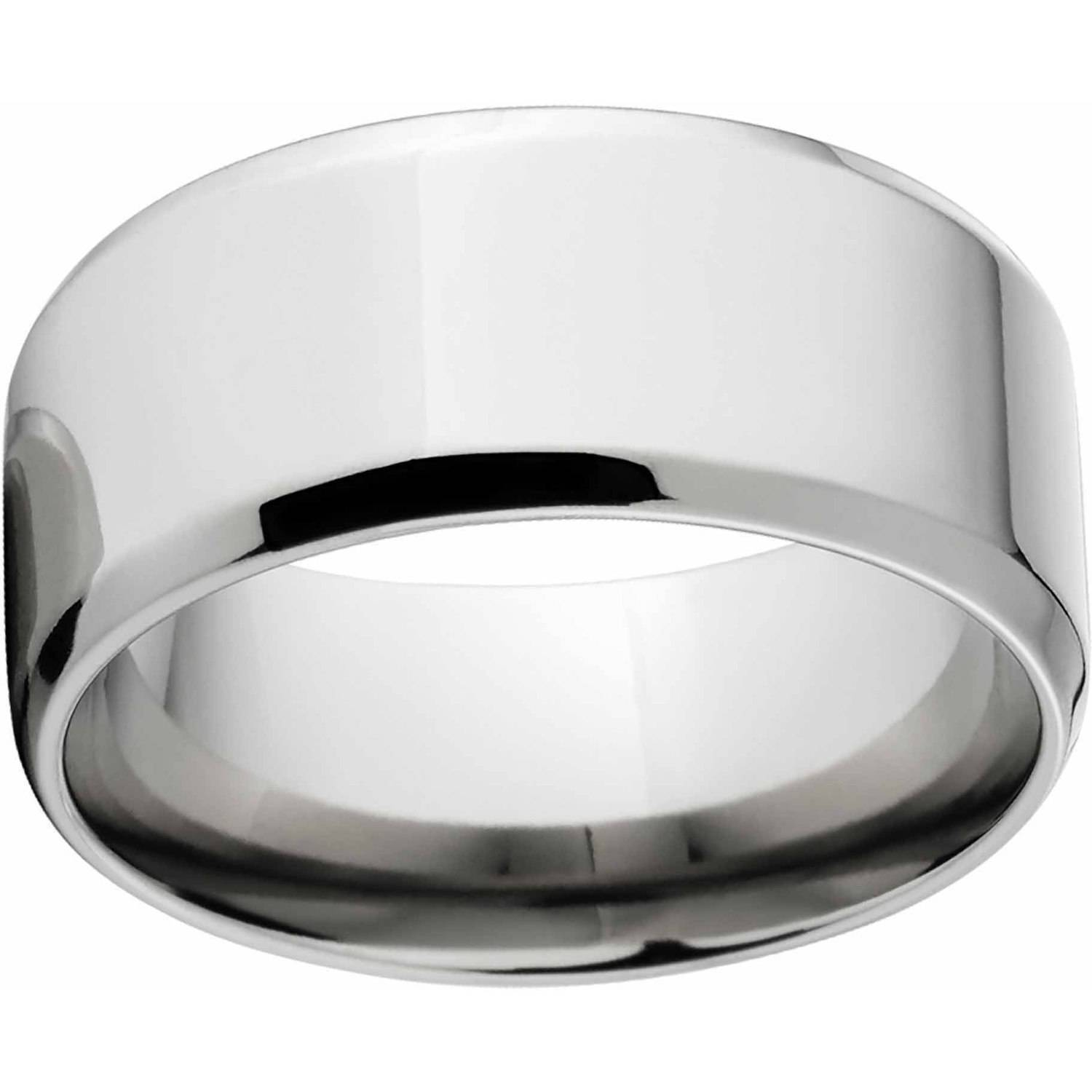 Polished 10mm Titanium Wedding Band with Comfort Fit Design