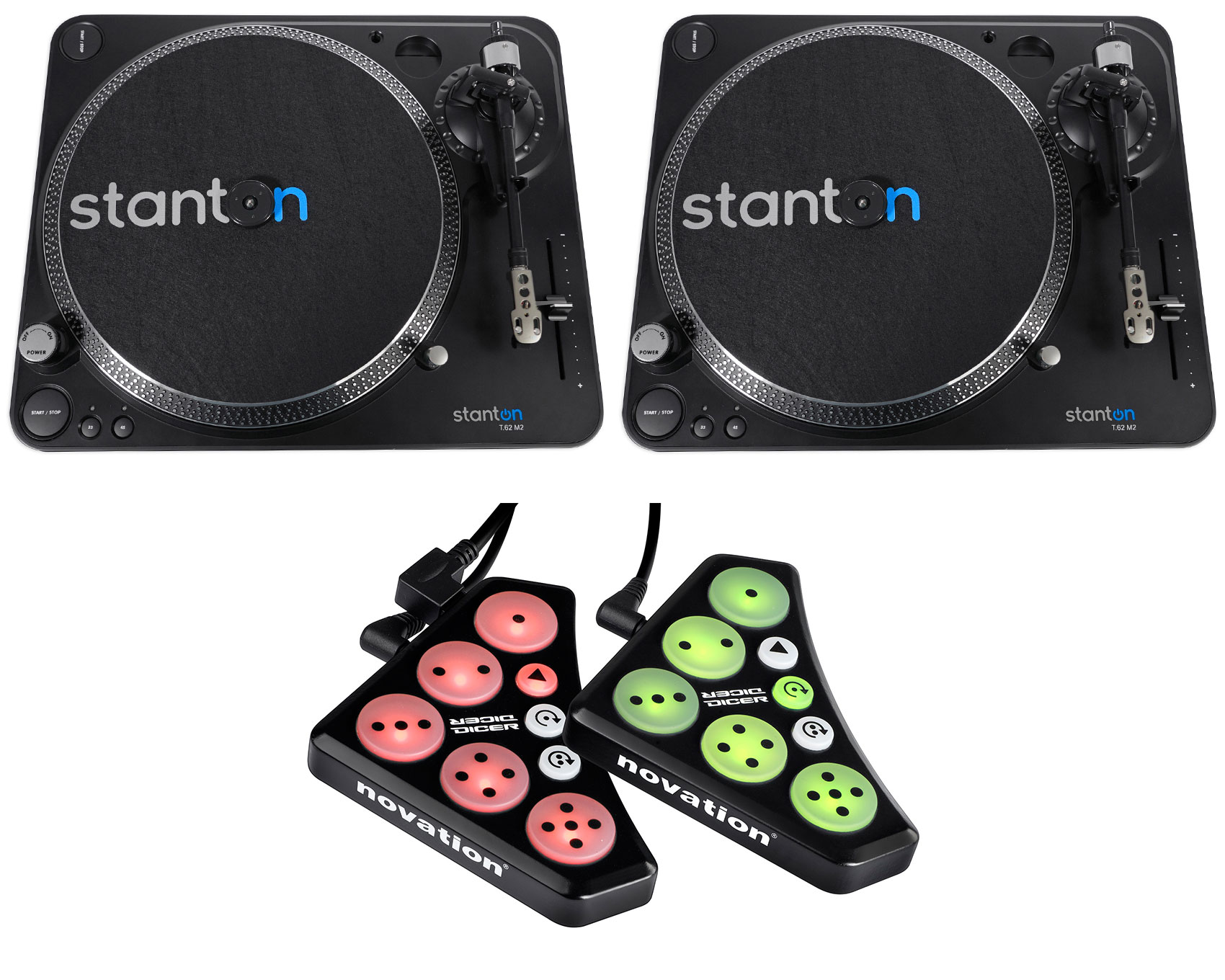 (2) Stanton T.62 M2 Direct-Drive Straight-arm DJ Turntables+300 cartridge+Dicer by Stanton