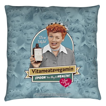 I Love Lucy Vitameatavegamin Throw Pillow White 18X18