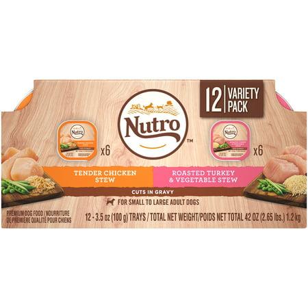 Tender Turkey - NUTRO Wet Dog Food Cuts in Gravy Variety Pack, Tender Chicken Stew and Roasted Turkey & Vegetable Stew, (12) 3.5 oz. Trays