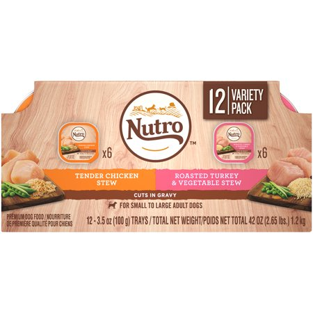 Tender Turkey - NUTRO Wet Dog Food Cuts in Gravy Variety Pack, Tender Chicken Stew and Roasted Turkey & Vegetable Stew, (12) 3.5 oz. Trays